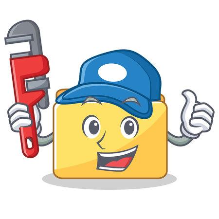 Plumber folder character cartoon style vector illustration