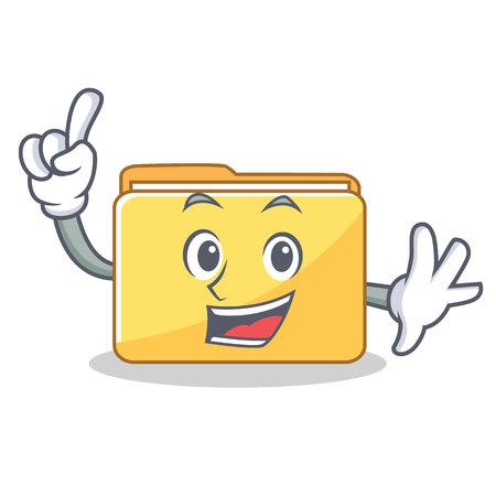 Finger folder character cartoon style vector illustration