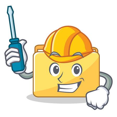 Automotive folder character cartoon style vector illustration Illustration