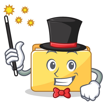 Magician folder character cartoon style vector illustration