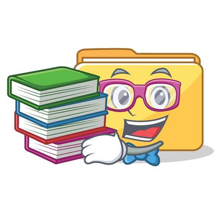Student with book folder character cartoon style vector illustration Illustration
