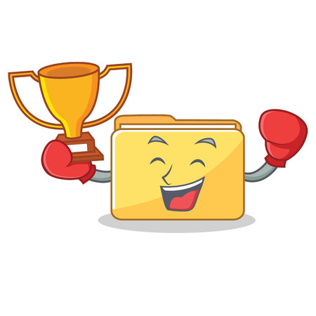 Boxing winner folder character cartoon style vector illustration