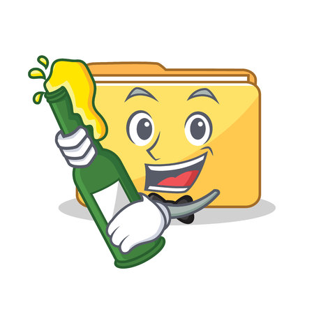 With beer folder character cartoon style vector illustration