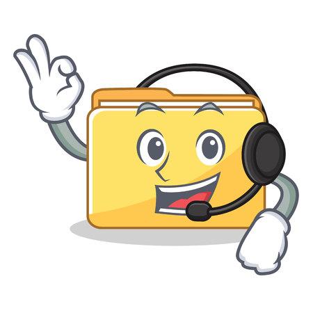 With headphone folder character cartoon style illustration. Illustration