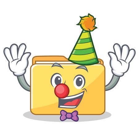 Clown folder character cartoon style illustration.
