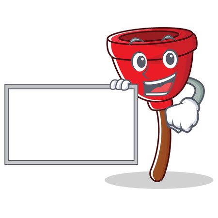 With board plunger character cartoon style vector illustration