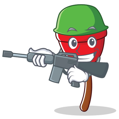 Army plunger character cartoon style vector illustration Illustration