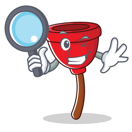 Detective plunger character cartoon style vector illustration