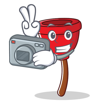 Plunger character cartoon style with camera vector illustration