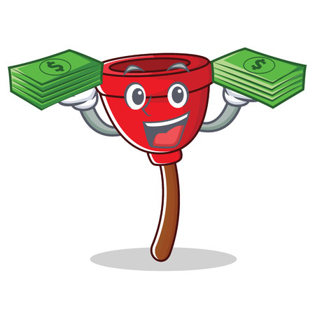 With money plunger character cartoon style