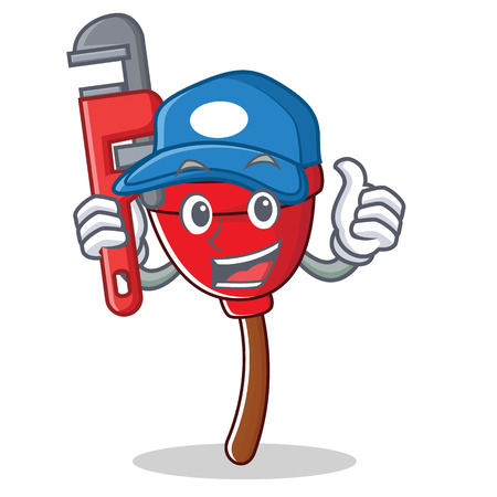 Plumber plunger character cartoon style