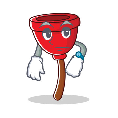Waiting plunger character cartoon style