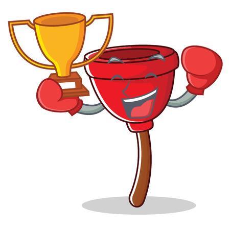 Boxing winner plunger character cartoon style vector illustration Illustration