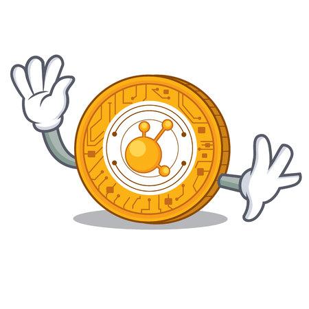 Waving BitConnect coin character cartoon vector illustration Illustration