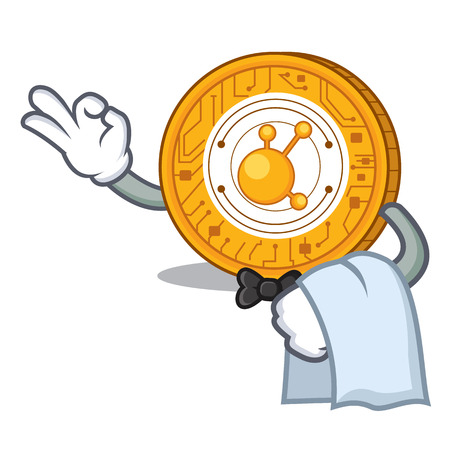 Waiter BitConnect coin character cartoon vector illustration Иллюстрация