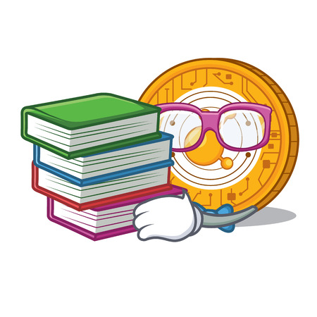 Student with book BitConnect coin character cartoon vector illustration