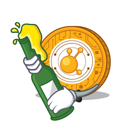 With beer BitConnect coin character cartoon vector illustration Illustration