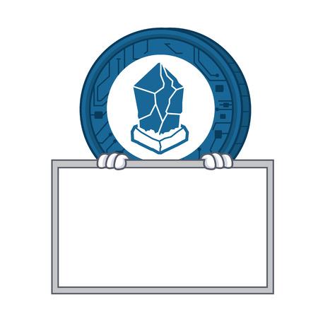 With board Lisk coin character cartoon vector illustration Illustration