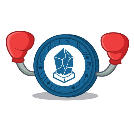 Boxing Lisk coin character cartoon vector illustration Çizim