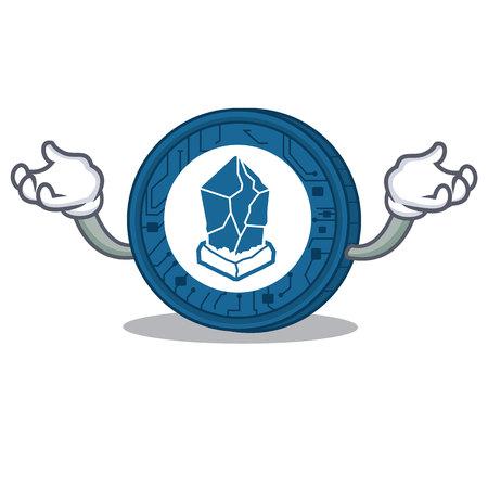 Hand up Lisk coin character cartoon vector illustration