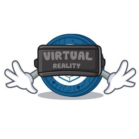 With virtual reality Lisk coin character cartoon 向量圖像