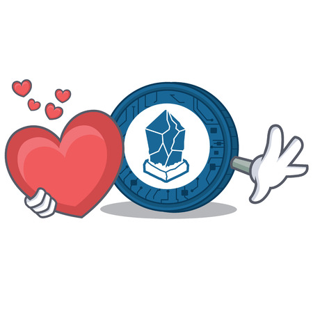 With heart Lisk coin character cartoon vector illustration
