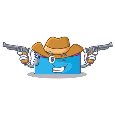 Cowboy pencil case character cartoon vector illustration. Illustration