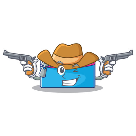 Cowboy pencil case character cartoon vector illustration. Illustration