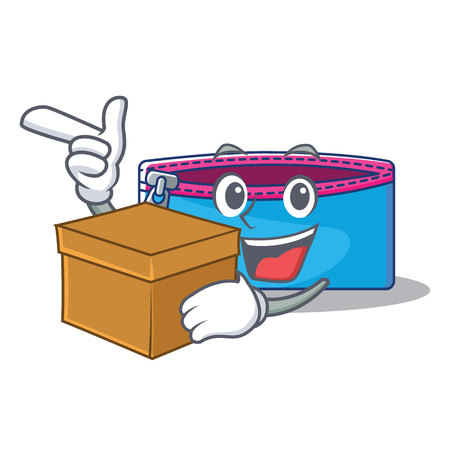 With box pencil case character cartoon vector illustration. Illustration