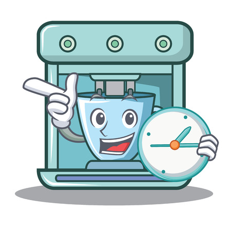 With clock coffee maker character cartoon vector illustration Vectores