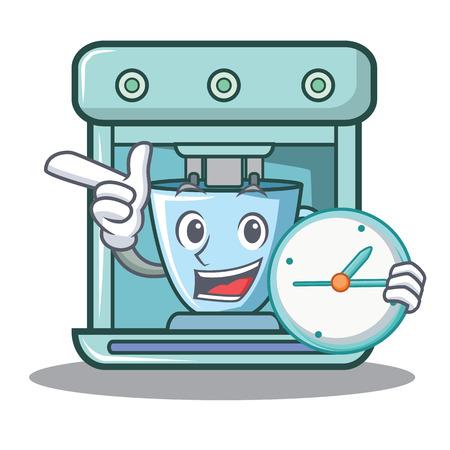 With clock coffee maker character cartoon vector illustration Illusztráció