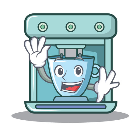 Waving coffee maker character cartoon vector illustration