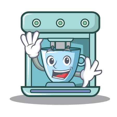 Waving coffee maker character cartoon vector illustration