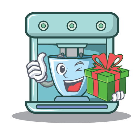 With gift coffee maker character cartoon illustration.