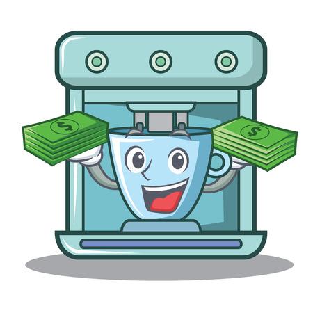 With money coffee maker character cartoon vector illustration Illusztráció