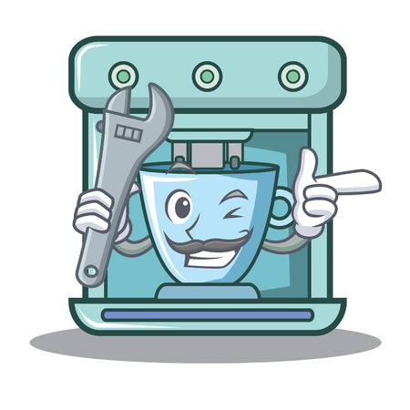 Mechanic coffee maker character cartoon