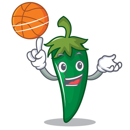 With basketball green chili character cartoon vector illustration.