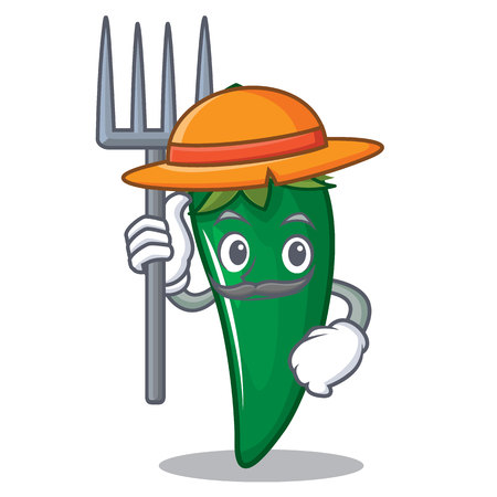Farmer green chili character cartoon vector illustration Illustration
