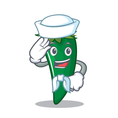 Sailor green chili character cartoon vector illustration.