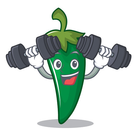 Fitness green chili character cartoon