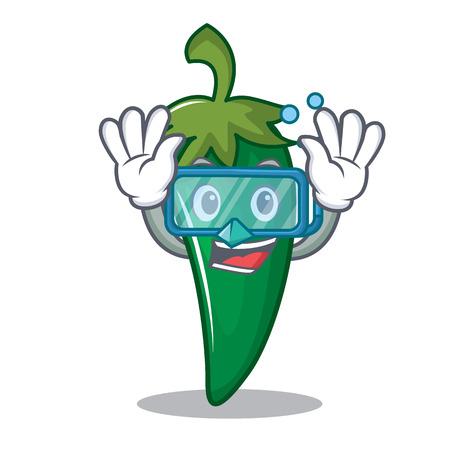 Ilustración de vector de dibujos animados de personaje de chili verde buceo Vectores