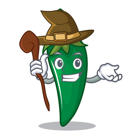 Witch green chili character cartoon vector illustration