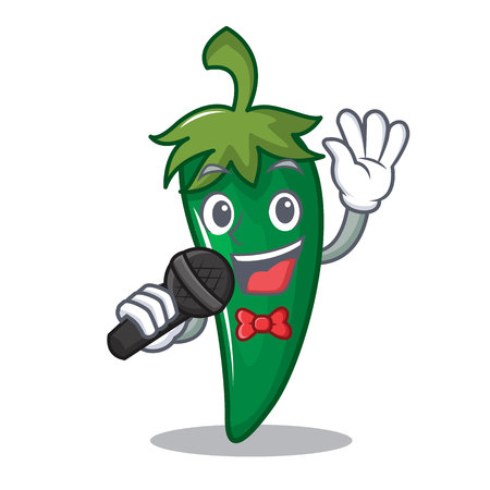 Singing green chili character cartoon.