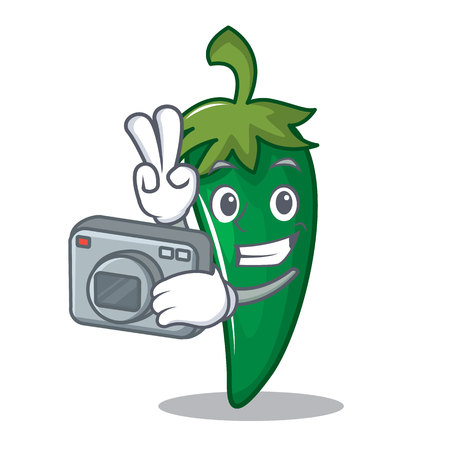 Camera man green chili character cartoon vector illustration