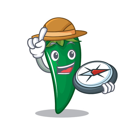 Explorer green chili character cartoon. Illustration