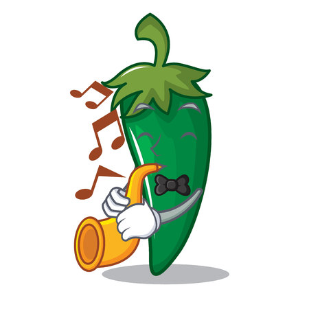 With trumpet green chili character cartoon.