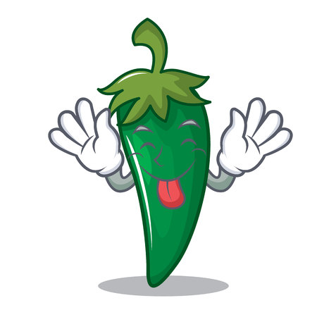 Tongue out green chili character cartoon