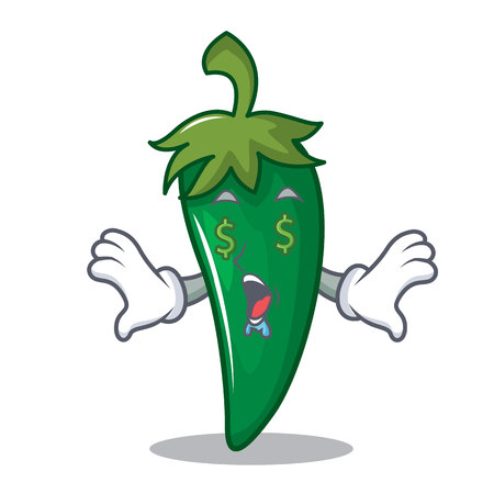 Money eye green chili character cartoon