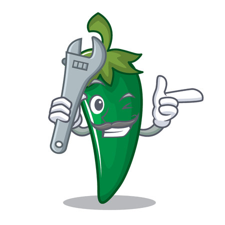 Mechanic green chili character cartoon Illustration