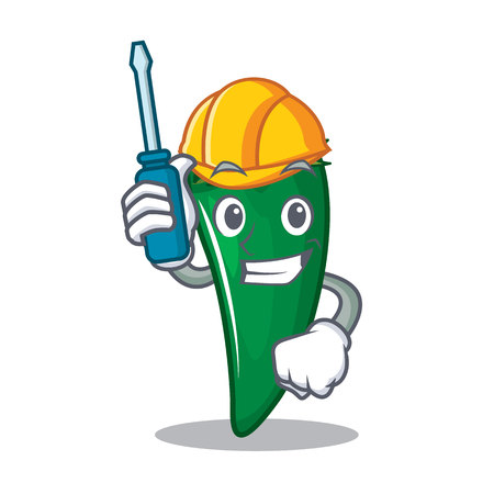 Automotive green chili character cartoon